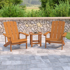 2 Pack Charlestown All-Weather Poly Resin Wood Adirondack Chairs with Side Table in Teak