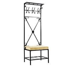 Textured Metal Entryway Rack with Storage and Microfiber Bench Seat - Black