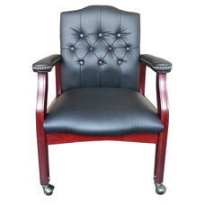 Traditional Button Tufted Caressoft™ Guest Chair with Mahogany Finish - Black