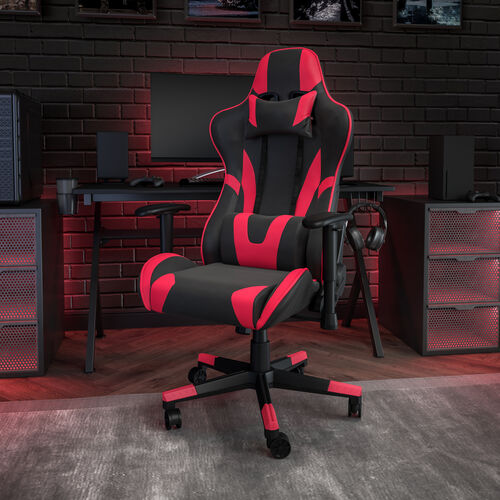 BlackArc X20 Gaming Chair Racing Office Ergonomic Computer PC Adjustable Swivel Chair with Fully Reclining Back in Red LeatherSoft