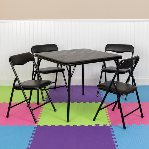 Our Kids Black 5 Piece Folding Table and Chair Set is on sale now.