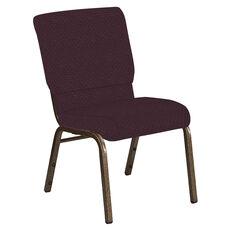 Embroidered 18.5''W Church Chair in Venus Aubergine Fabric - Gold Vein Frame