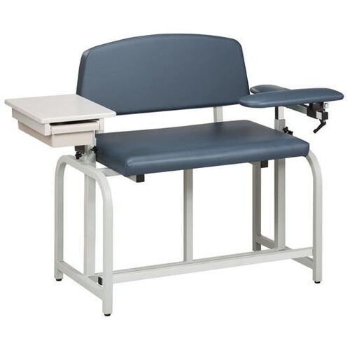 Lab X Series Bariatric Extra Tall Draw Chair with Padded Flip Arm and Drawer