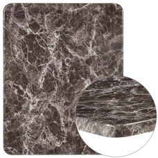 "24"" x 30"" Rectangular Gray Marble Laminate Table Top"