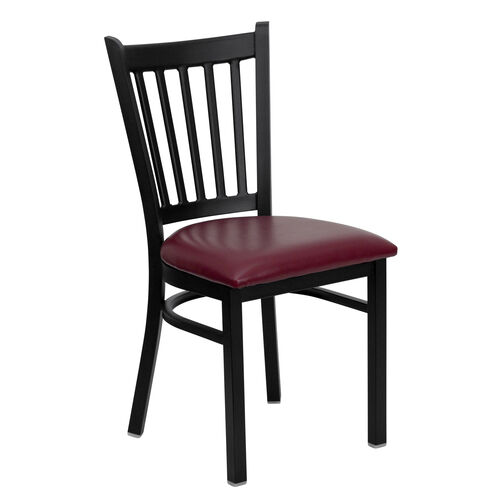 Our Black Vertical Back Metal Restaurant Chair with Burgundy Vinyl Seat is on sale now.