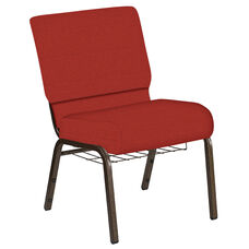 Embroidered 21''W Church Chair in Phoenix Tabasco Fabric with Book Rack - Gold Vein Frame