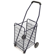 Durable Steel Rolling Utility Cart with Soft Grip Foam Handle - Blue