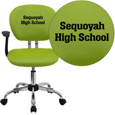 Embroidered Mid-Back Apple Green Mesh Padded Swivel Task Office Chair with Chrome Base and Arms