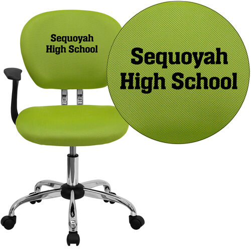 Our Embroidered Mid-Back Apple Green Mesh Padded Swivel Task Office Chair with Chrome Base and Arms is on sale now.