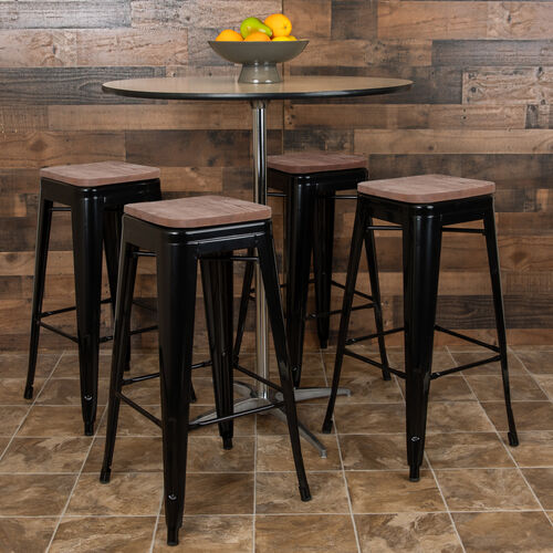 """Our 30"""" High Metal Indoor Bar Stool with Wood Seat in Black - Stackable Set of 4 is on sale now."""