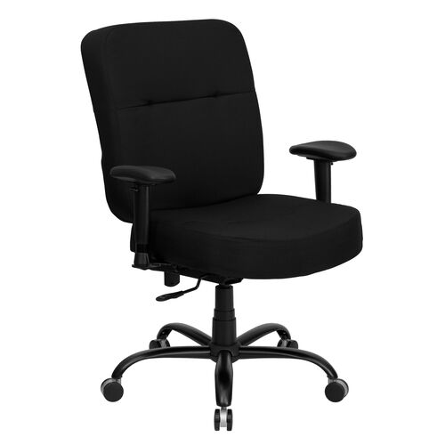 Our HERCULES Series Big & Tall 400 lb. Rated Black Fabric Rectangular Back Ergonomic Office Chair with Arms is on sale now.