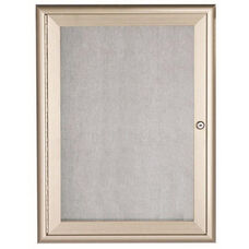 1 Door Enclosed Bulletin Board with Aluminum Waterfall Style Frame - Silver - 36''H x 24''W