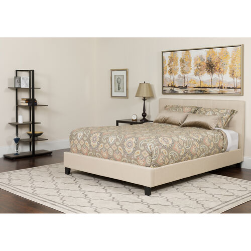 Our Tribeca Queen Size Tufted Upholstered Platform Bed in Beige Fabric with Memory Foam Mattress is on sale now.