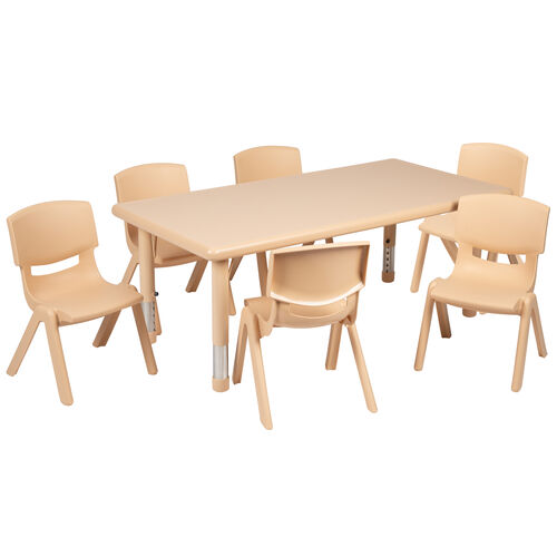"""Our 24""""W x 48""""L Rectangular Plastic Height Adjustable Activity Table Set with 6 Chairs is on sale now."""