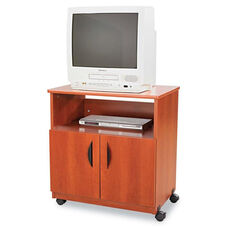 Safco® Laminate Machine Stand w/Open Compartment - 28w x 19-3/4d x 30-1/2h - Cherry