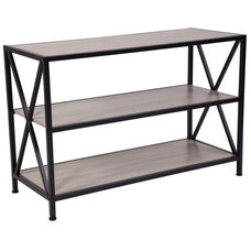 "Chelsea Collection 3 Shelf 26""H Cross Brace Bookcase in Sonoma Oak Wood Grain Finish"
