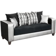 Riverstone Implosion Black Velvet Sofa with Black & Shimmer Steel Frame