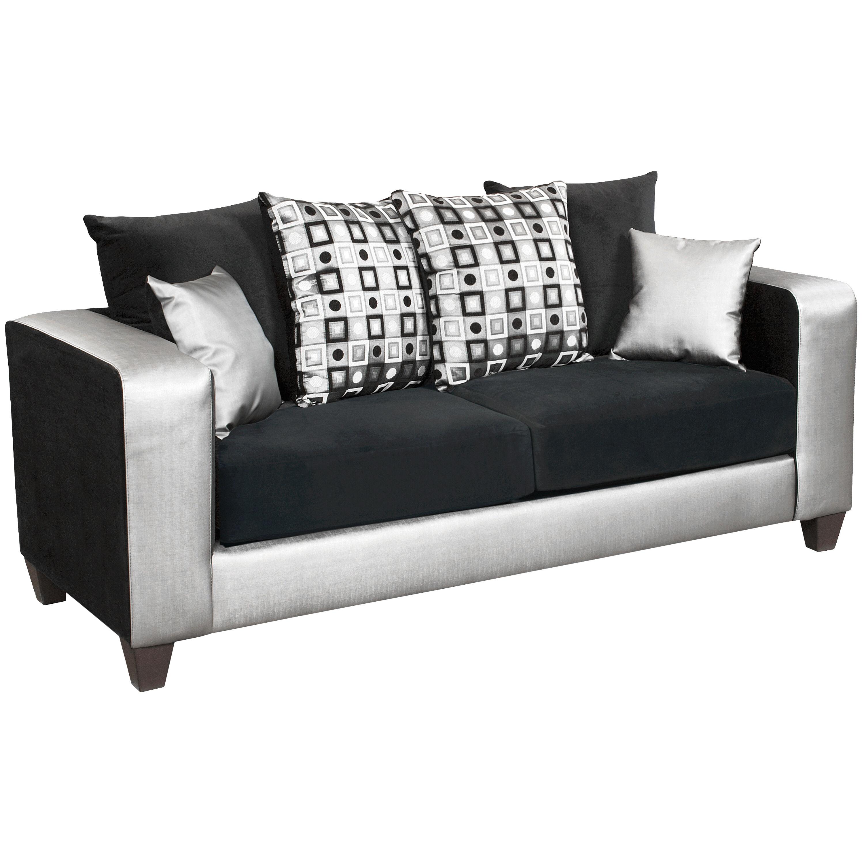 ... Our Riverstone Implosion Black Velvet Sofa With Black U0026 Shimmer Steel  Frame Is On Sale Now