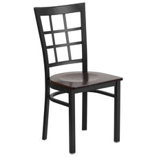 Black Window Back Metal Restaurant Chair with Walnut Wood Seat