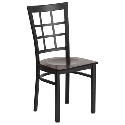 Our Black Window Back Metal Restaurant Chair with Walnut Wood Seat is on sale now.