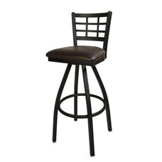 Marietta Metal Window Pane Swivel Barstool - Dark Brown Vinyl Seat