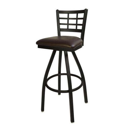 Our Marietta Metal Window Pane Swivel Barstool - Dark Brown Vinyl Seat is on sale now.