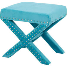 OSP Accents Katie Bench with Silver Nail Heads - Teal Micro Velvet