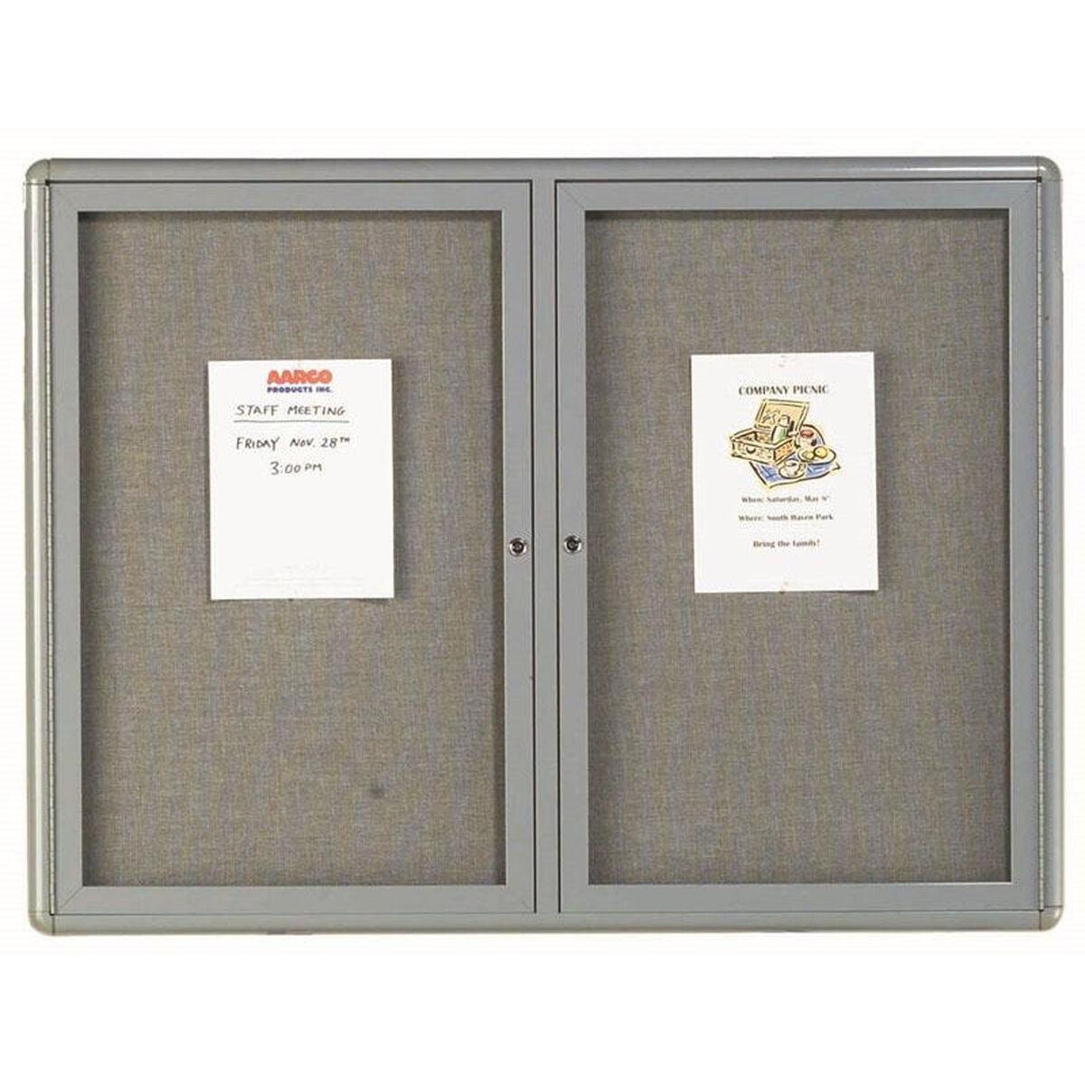 2 Door Radius Design Enclosed Bulletin Board With Gray Fabric And Medium Gray Frame 36h X 48w