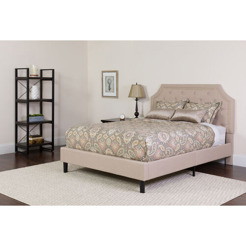Our Brighton Queen Size Tufted Upholstered Platform Bed in Beige Fabric with Memory Foam Mattress is on sale now.
