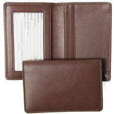 Deluxe Business Card Holder with ID Display - Top Grain Nappa Leather - Coco