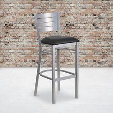 Silver Slat Back Metal Restaurant Barstool with Black Vinyl Seat