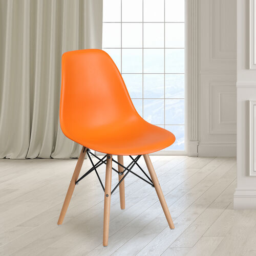 Elon Series Orange Plastic Chair with Wooden Legs