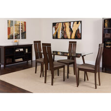 Roseville 5 Piece Espresso Wood Dining Table Set with Glass Top and Clean Line Wood Dining Chairs - Padded Seats
