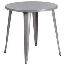 "Commercial Grade 30"" Round Silver Metal Indoor-Outdoor Table"