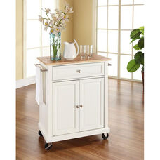 Natural Wood Top Portable Kitchen Island with Casters - Maple and White Finish