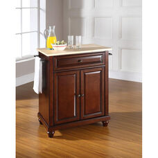 Natural Wood Top Portable Kitchen Island with Cambridge Feet - Maple and Vintage Mahogany Finish