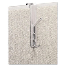 Safco® Over-The-Panel Double-Garment Hook - Satin Aluminum/Chrome