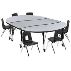 """Mobile 86"""" Oval Wave Collaborative Laminate Activity Table Set with 12"""" Student Stack Chairs, Grey/Black"""