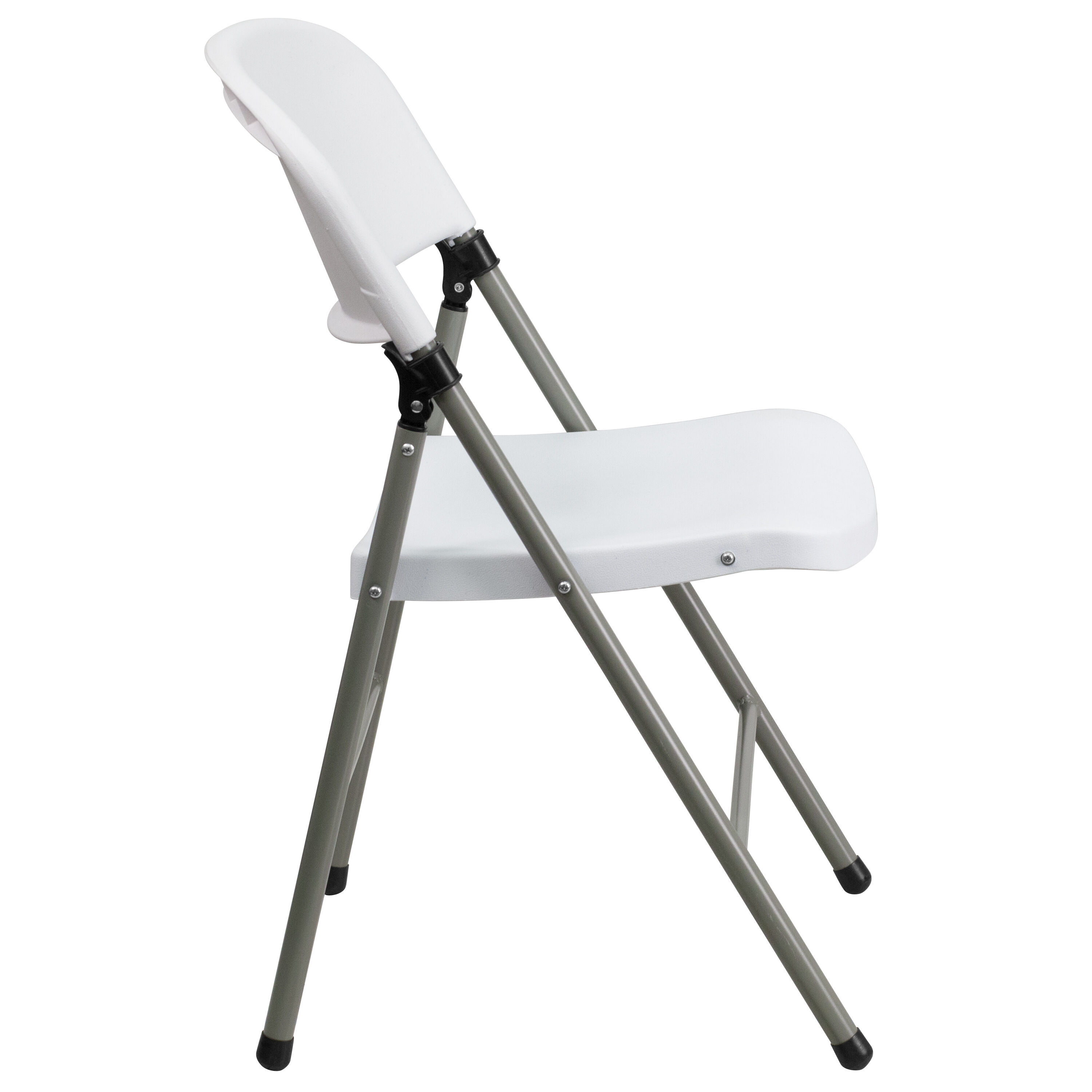 Capacity White Plastic Folding Chair With Gray Frame Is On ...