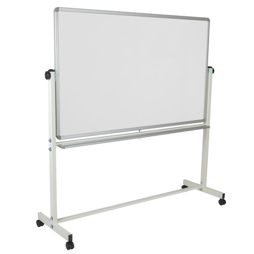 """Our HERCULES Series 64.25""""W x 64.75""""H Double-Sided Mobile White Board with Pen Tray is on sale now."""