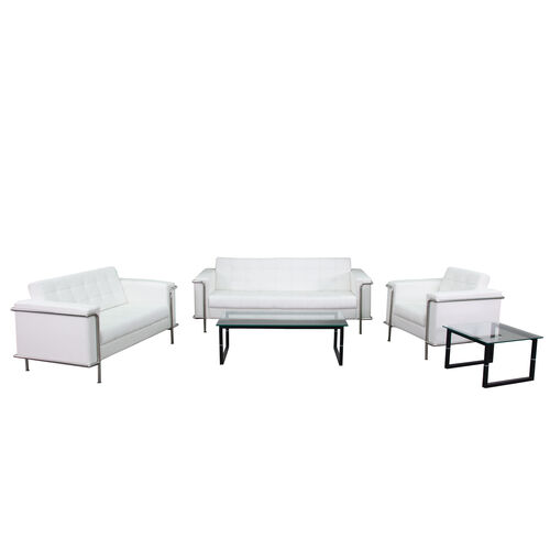 "Our HERCULES Lesley Series Living Room Set in White with <span style=""color:#0000CD;"">Free </span> Glass Coffee and End Table is on sale now."
