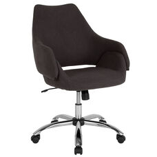 Madrid Home and Office Upholstered Mid-Back Chair in Black Fabric