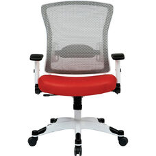 Space Pulsar Managers Office Chair with Mesh Padded Seat - Red with White Frame