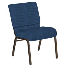 Embroidered 21''W Church Chair in Arches Navy Fabric - Gold Vein Frame