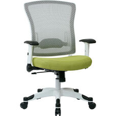 Space Pulsar Managers Office Chair with Fabric Padded Seat - Dove Olive with White Frame