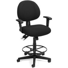 24 Hour Task Chair with Arms and Drafting Kit - Black