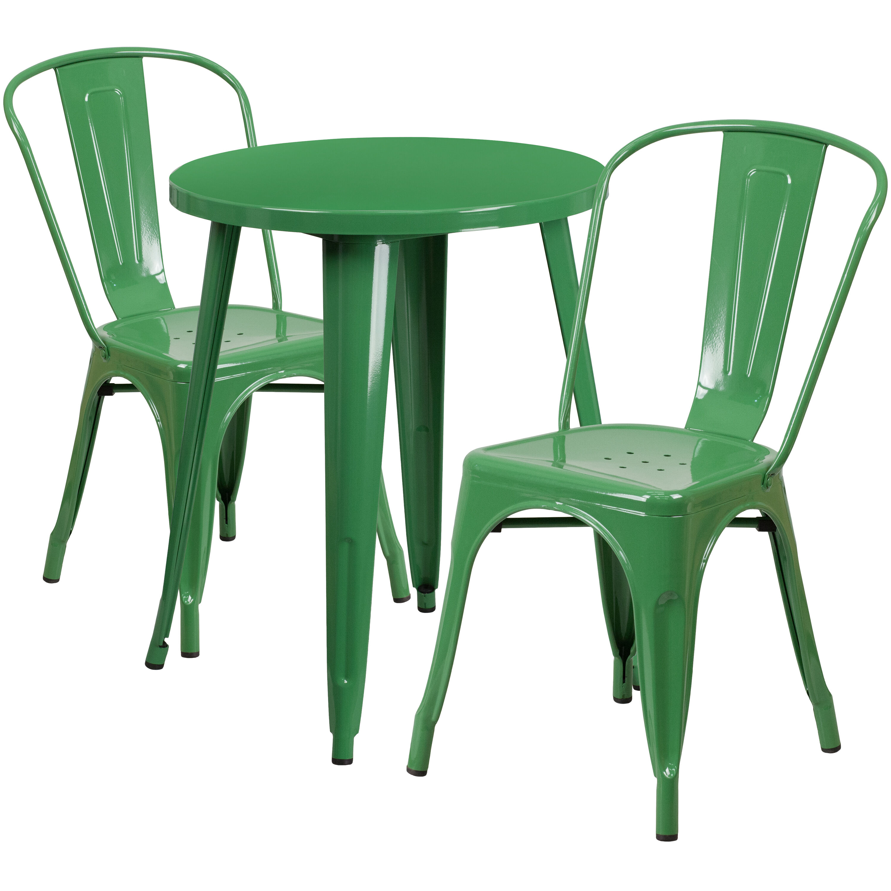 Superieur ... Our 24u0027u0027 Round Green Metal Indoor Outdoor Table Set With 2 Cafe Chairs