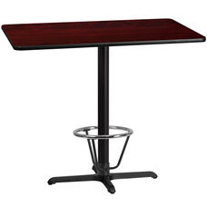 30'' x 48'' Rectangular Mahogany Laminate Table Top with 23.5'' x 29.5'' Bar Height Table Base and Foot Ring