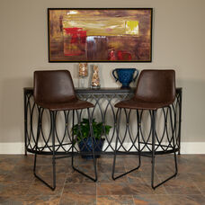 30 inch LeatherSoft Bar Height Barstools in Dark Brown, Set of 2