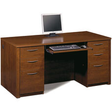Embassy Executive Desk Set with Keyboard Shelf and Filing Drawers - Tuscany Brown